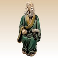 Chinese Mudman Seated Sage With Flywhisk (Symbol Of Authority)