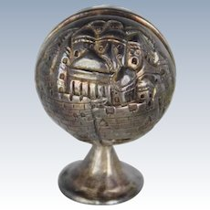 Vintage Silver Clad Israel Paperweight and Business Card Holder Panorama of Jerusalem, Signed,