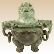 Vintage Chinese Jade Incense Burner, Covered, with Tripod Feet, Foo Dog Finial and Dragon Head Loose Ring Handles