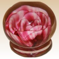 Rare Early John Degenhart Upright Crimp Pink Rose Footed Paperweight