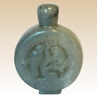 Hardstone Snuff Bottle With Beautifully Carved Birds In High Relief