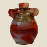 Unusual Red and White Hardstone Snuff Bottle With Two Animals Carved At the Neck