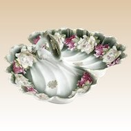 Scalloped Edges, Gorgeous Flowers, Leaping Fish Handle on This Bavarian Divided Dish