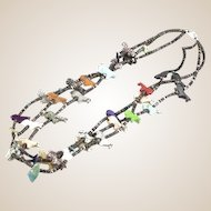 Native American Three Strand Necklace With Many Carved Horse Figures In Different Stones, including Turquoise, Marble and Granite