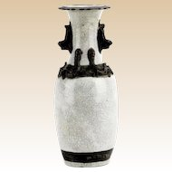 Antique Chinese Dragon-Handled Crackle Glaze Porcelain Vase, 4 Character Mark