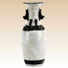 Antique Chinese Dragon-Handled Crackle Glaze Porcelain Vase, 4 Character Mark