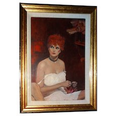 "WILLIAM NELSON (American b. 1942) - Original Acrylic ""Artist's Model"" Signed and Dated 1986"