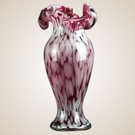 Murano Hand-Blown Ruffled Edge Vase, Gorgeous Red to Cranberry Colors!