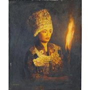 """Di Lifeng/Di Lifong, (Chinese b. 1958) Oil on Canvas """"Beauty With Torch"""""""