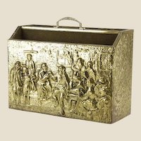 Vintage Brass and Wood Magazine Holder with Colonial Scene