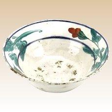 Antique Floral Glazed Stoneware Bowl.