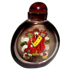 Inside Painted Red Snuff Bottle, Two Different Scenes
