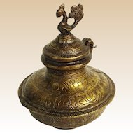 Antique Persian Near East Bronze Bottle with Figural Hinged Top