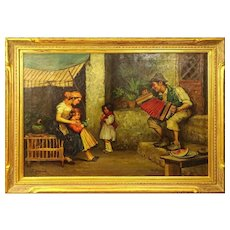 "RUDOLPH JELINEK, (Austrian 1880-1950) Original Oil on Canvas ""Entertaining The Family"" Signed"