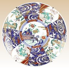 Very Large 19th C. Japanese Imari Hand Painted Porcelain Charger With Flowers, Cranes, And Foo Lion Motif in Panels,