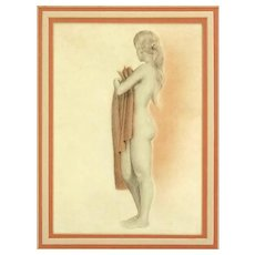 "Original Signed Drawing ""Nude With Towel"" - Sensitive and Sensuous"