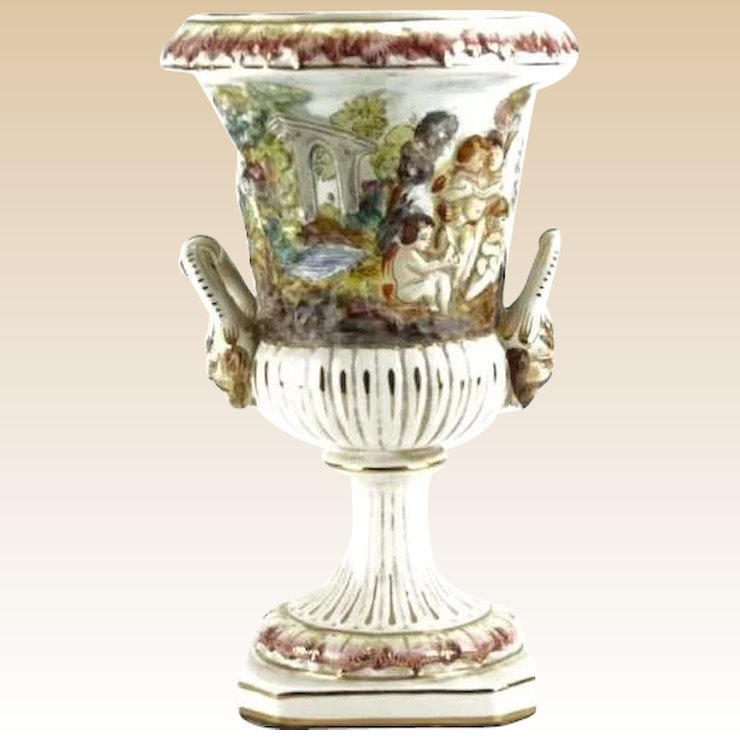 Vintage Capodimonte Large Figural Urn With Figures In High Relief