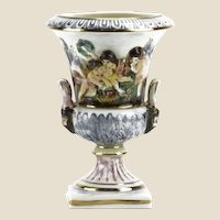 Old Capodimonte Porcelain Urn With Figural Handles, and Figures In High Relief,