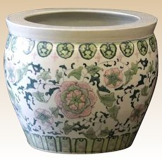 Chinese Porcelain Jardiniere on Wooden Stand.