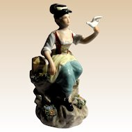 "Capo-Di-Monte Signed Porcelain ""Girl With Bird"""
