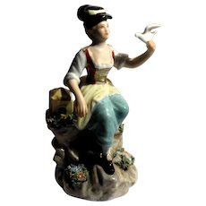 """Capo-Di-Monte Signed Porcelain """"Girl With Bird"""""""