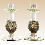 Capodimonte Pair Multi-Figural Porcelain Candlesticks