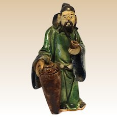 Excellent Chinese Mudman Sage With Calligraphy Brush Washer And Pipe