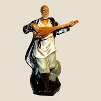 Chinese Large Standing Musician Mudman Playing Mandolin