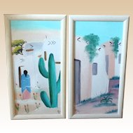 PAIR of Native American Oil On Canvas Paintings, Signed