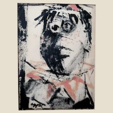 KAREL APPEL (Dutch/American 1921 - 2006) Original Signed Mixed Media, Untitled, Mid Century