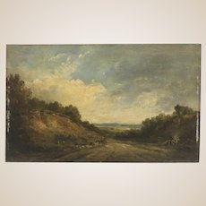 "Original Antique British Painting Oil On Panel  ""A Wayside Halt""   By Alfred Vickers (British, 1786-1868)"