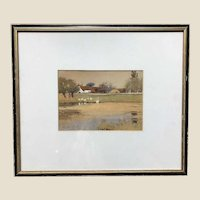 "A. E. BROCKBANK (British 1862 - 1958) Original Signed Watercolor ""The Duck  Pond"""