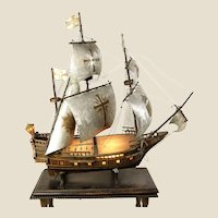 BREATHTAKING Antique Large Mixed Media Spanish Galleon Lighted Model on Its Custom Wood Table