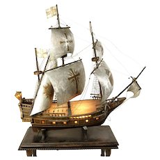 BREATHTAKING Antique Large Mixed Media Spanish Galleon Model on Its Custom Wood Table
