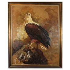 THE AMERICAN EAGLE (BALD EAGLE) - Original Signed Oil Painting On Canvas , Dated '32 - A Tribute To The U. S. A.