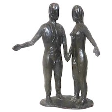 """Adam and Eve"" Bronze Sculpture"