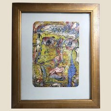"""ALEXANDER GORE (Russian/American 20th Century) Original Abstract """"The Dualistic Existence Of The Face""""  Impasto Oil Painting Signed, With Artist's COA"""