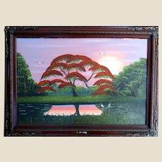 "AL BLACK -  Original Florida Highwaymen Artist Spectacular Large Original Signed Original Oil On Canvas- ""Glorious Sunrise"""