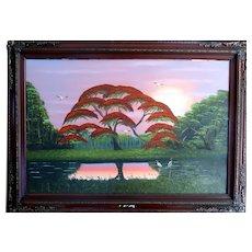 "AL BLACK -  Original Florida Highwaymen Artist  - Large Original Signed Oil Painting ""Glorious Sunrise"""