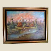 """Lovely Vintage Oil Painting """"Cabin By The Lake"""" - Signed/Date by Artist Annora, 1982"""