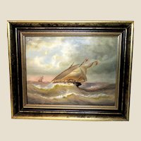 """Original  Antique Oil Painting On Board - """"Flying Alive"""" - 19th Century"""