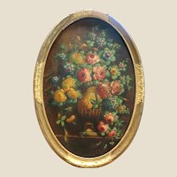 Exquisite Large Antique Oval Oil Painting Of An Urn With A Plethora of Flowers, Signed.