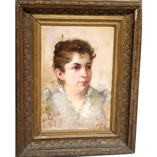 Very Special Antique Portrait, Oil On Panel, Signed/Dated 1891 -  professional conservation report included.