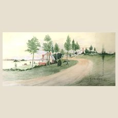 Lovely Antique Watercolor Landscape. Signed and Dated 1908