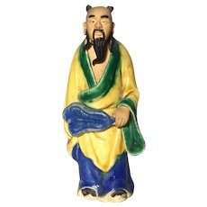 Uncommon Chinese Mudman Sage or Potentate, Holding Fan (Symbol of Authority)