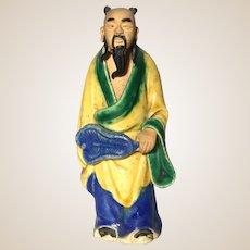 Uncommon Chinese Mudman Sage or Potentate, Holding Fan (Symbol of Authority)