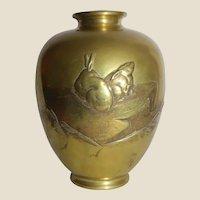 Signed Japanese Gilded Bronze Vase,  Rabbit Motif, Meiji/Taisho Period, Yoshi Masa.