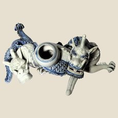 MEIJI PERIOD Japanese Blue And White Double Dragon Brush Washer
