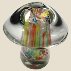 Art Glass Larger Mushroom Paperweight, Beautiful!