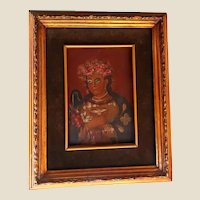 18th Century Czech Icon Of The Virgin Mary, Painting On Wood, Framed